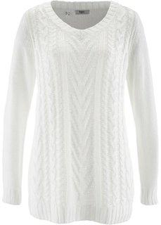 Удлиненный пуловер в блестящем дизайне (кремовый/медный меланж) Bonprix