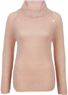 Пуловер с высоким воротом (нежно-розовый/золотистый) Bonprix