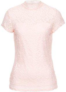 Кружевная футболка (нежно-розовый) Bonprix