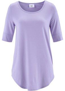 Удлиненная вискозная футболка (нежно-фиолетовый) Bonprix