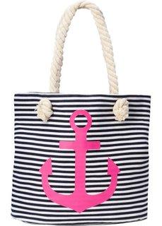 Пляжная сумка-шопер с якорем (темно-синий/ярко-розовый/белый) Bonprix