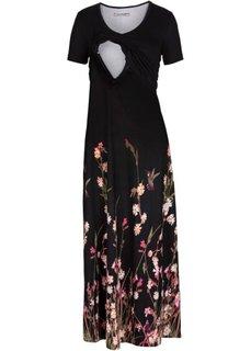 Для будущих и кормящих мам: длинное платье (черный в цветочек) Bonprix