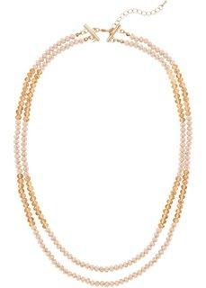 Двухрядная цепочка со сверкающими камешками (натуральный/цвет пудры) Bonprix