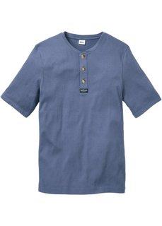 Однотонная футболка стандартного прямого кроя regular fit (синий джинсовый) Bonprix