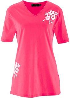 Удлиненная футболка (розовый гибискус / белый с рисунком/с принтом) Bonprix