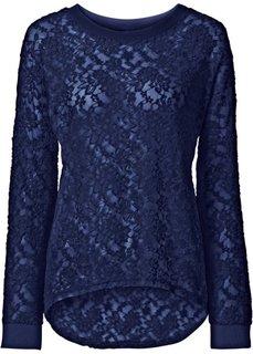 Кружевная футболка (ночная синь) Bonprix