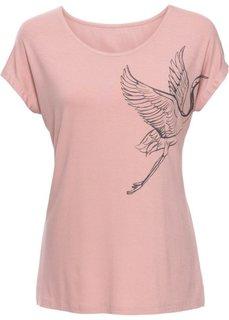 Классика гардероба: футболка с принтом (розовый с рисунком) Bonprix