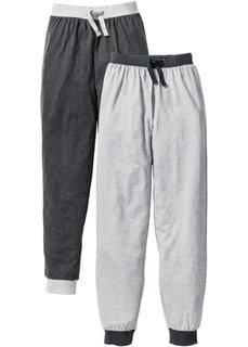 Пижамные брюки (2 шт.) (светло-серый меланж/антрацитовый меланж) Bonprix