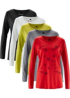 Удлиненная футболка с длинными рукавами (5 штук в упаковке) (клубничный с принтом/белый/серый меланж/черный/фисташковый) Bonprix