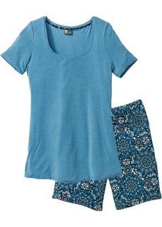 Пижама с длинными шортами (серо-голубой с принтом) Bonprix