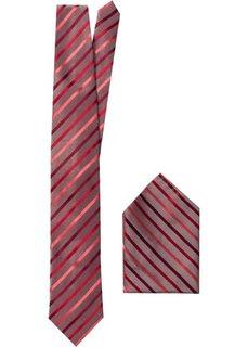 Галстук + платок (2 изд.) (красный в полоску) Bonprix