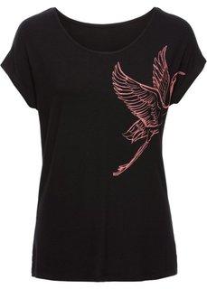 Классика гардероба: футболка с принтом (черный с рисунком) Bonprix