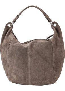 Кожаная сумка-шопер (серо-коричневый) Bonprix