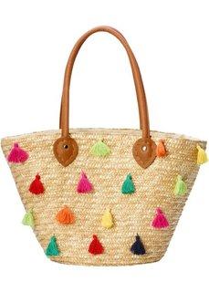 0d7020060286 Соломенная сумка с разноцветными помпонами (натуральный цветной) Bonprix