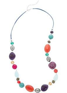Длинные бусы с разноцветными камнями (античный серебристый/синий/красный/бирюзовый) Bonprix