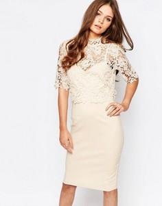 Кружевное платье с юбкой-карандаш и высоким воротом Paper Dolls - Кремовый