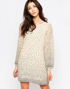 Цельнокройное платье в горошек с длинными рукавами Yumi - Мульти