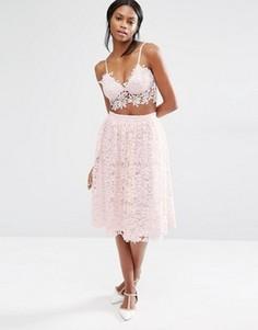 Пышная кружевная юбка миди Missguided - Розовый