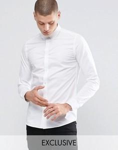 Стретчевая рубашка скинни с воротником на пуговицах Only & Sons - Белый
