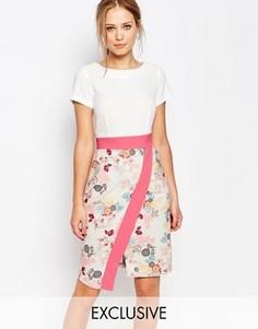Платье 2 в 1 с запахом на юбке и контрастной отделкой Closet - Мульти