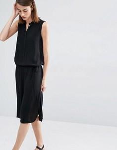 Удлиненное платье без рукавов с поясом Selected Jessi - Черный