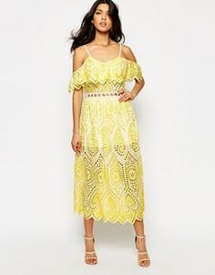 Платье с кружевной отделкой Foxiedox Quinn - Желтый