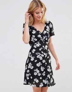 Чайное платье с цветочным принтом Style London - Черный