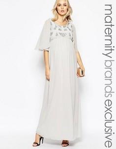 Платье макси с пайетками на лифе Maya Maternity - Серый
