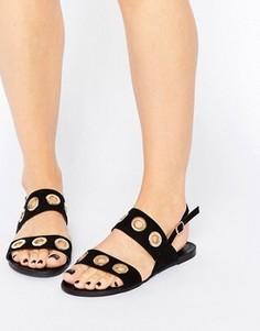 Сандалии с люверсами на ремешках Glamorous - Черный