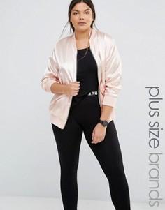 Атласная куртка‑пилот Boohoo Plus - Розовый