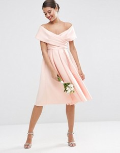 Платье миди для выпускного с открытыми плечами ASOS WEDDING - Розовый