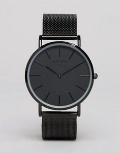Черные классические часы с сетчатым браслетом Reclaimed Vintage Inspired - Черный