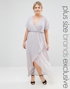 Платье макси с запахом и рюшами Truly You - Фиолетовый