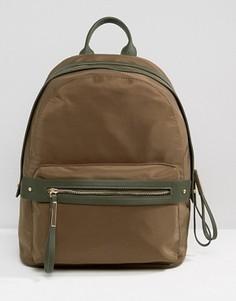 Структурированный нейлоновый рюкзак цвета хаки Pieces Minimal - Зеленый