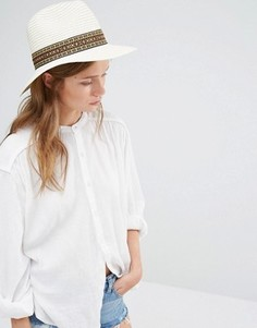 Широкополая соломенная шляпа с принтом на ленте Liquorish - Белый