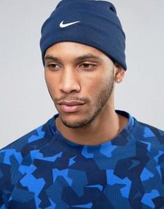 Синяя шапка-бини с логотипом Nike 803734-423 - Синий
