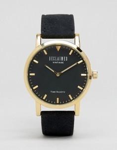 Часы с черным замшевым ремешком Reclaimed Vintage - Черный