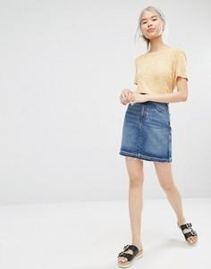 Джинсовая юбка‑трапеция из хлопка Monki - Синий