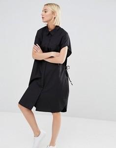 Платье-рубашка с завязкой на талии Weekday - Черный