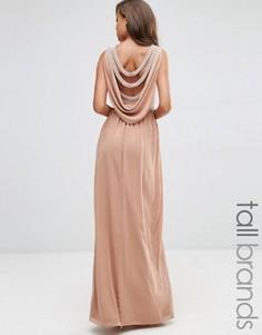 Платье макси с драпировкой TFNC Tall WEDDING - Бежевый