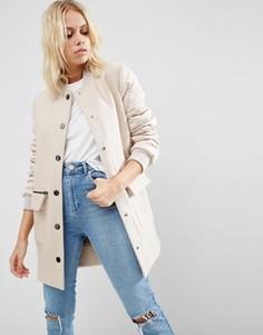 Пальто со стегаными рукавами в стиле куртки-пилот ASOS - Stone