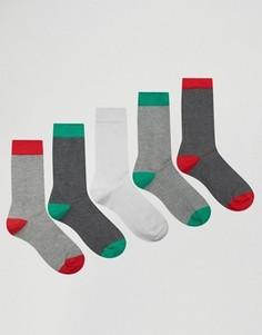5 пар носков с контрастным носком и пяткой ASOS - Мульти