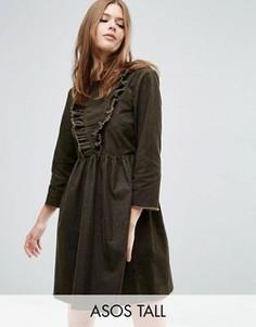 Платье с присборенной юбкой и оборкой ASOS TALL - Зеленый