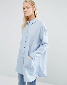 Длинная саржевая оversize-рубашка с контрастными пуговицами ASOS - Синий