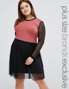 Короткое приталенное платье 2 в 1 с рукавами из сеточки Pink Clove - Мульти