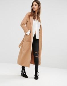 Длинное строгое пальто с поясом Boohoo - Рыжий