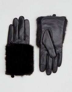 Перчатки для сенсорных экранов из кожи и искусственного меха ASOS - Черный