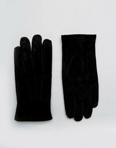 Черные замшевые перчатки ASOS - Черный