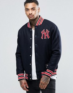 Студенческая куртка на основе шерсти Majestic Yankees - Темно-синий