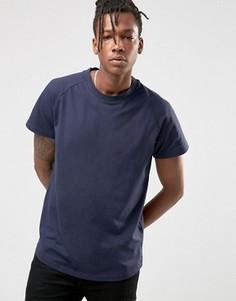 Длинная футболка из ткани пике с асимметричным краем Selected - Темно-синий
